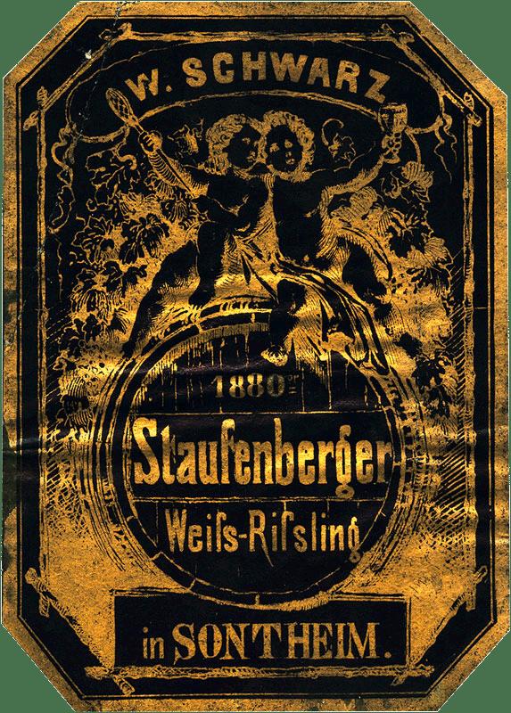 Nachweislich erstes Etikett von Wilhelm Schwarz im Jahre 1880 | Weingut Schwarz, Heilbronn