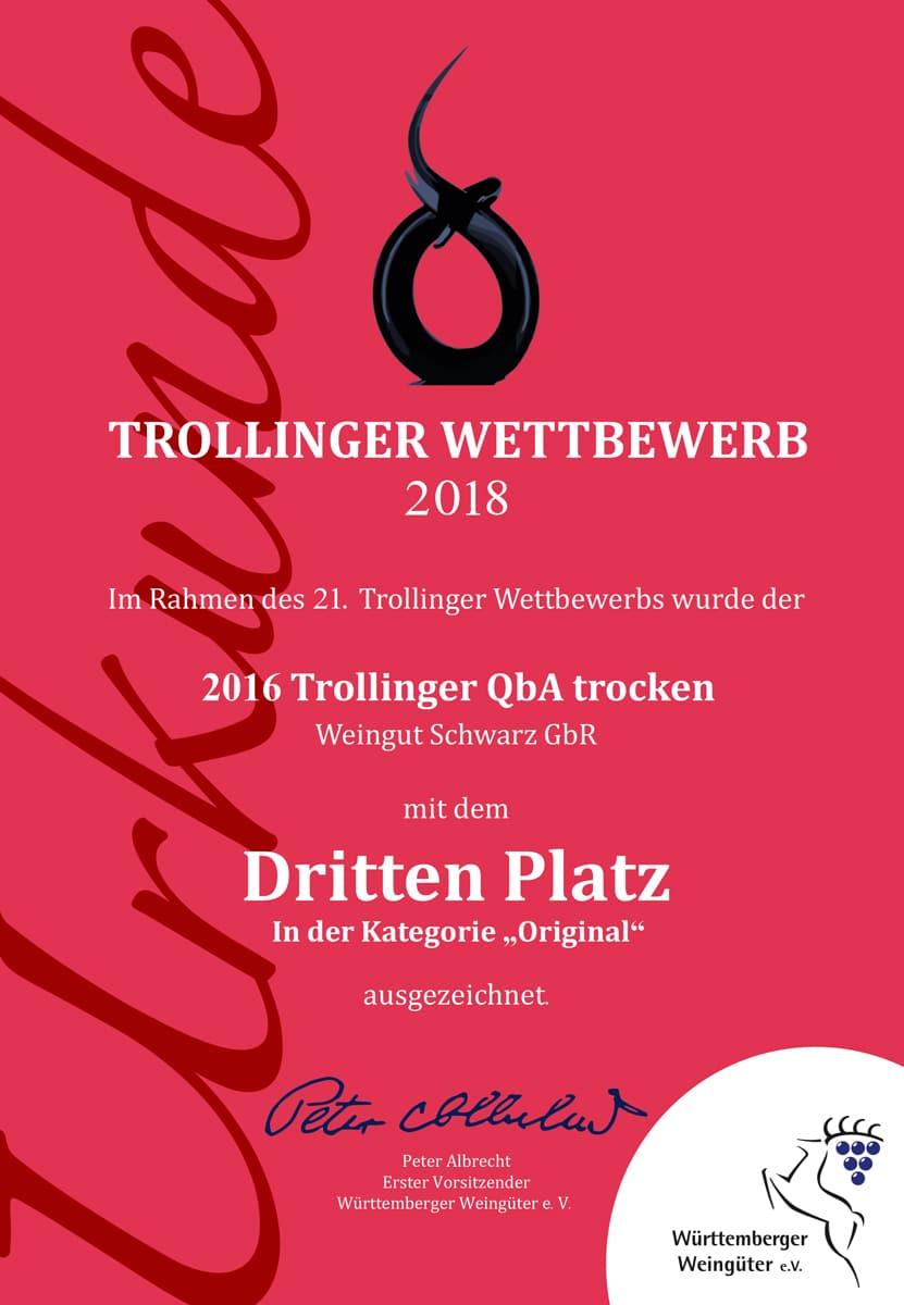 3. Platz, Trollinger Wettbewerb 2018 | Weingut Schwarz, Heilbronn